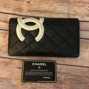 Chanel cambon line bifold long wallet .